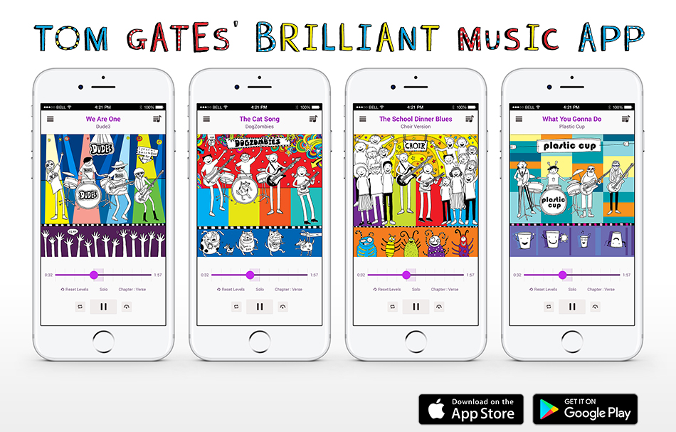 Tom Gates' Brilliant Music App is out NOW!!