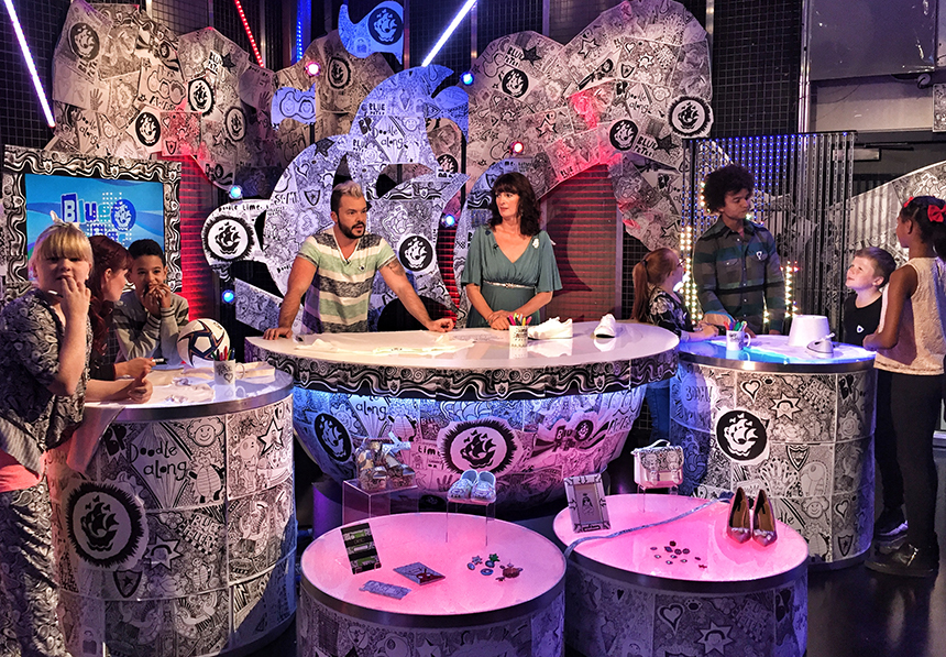 Liz Doodling on Blue Peter
